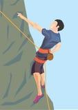 Απεικόνιση του ορειβάτη στο βράχο Στοκ φωτογραφία με δικαίωμα ελεύθερης χρήσης