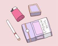 Απεικόνιση του πακέτου των τσιγάρων, των αντιστοιχιών και του αναπτήρα στο χρώμα Στοκ φωτογραφία με δικαίωμα ελεύθερης χρήσης