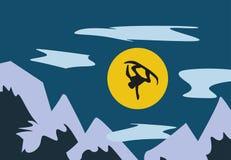 Απεικόνιση του πετάγματος snowboarder στο βουνό Απεικόνιση αποθεμάτων