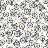 Απεικόνιση του ποδηλάτου, που οδηγά στο ποδήλατο, διανυσματική απεικόνιση πρότυπο άνευ ραφής απεικόνιση αποθεμάτων