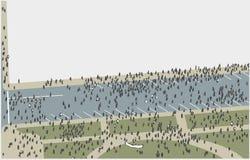 Απεικόνιση του πλήθους που βαδίζει και που διαμαρτύρεται από την υψηλή άποψη γωνίας στο χρώμα Στοκ Φωτογραφίες