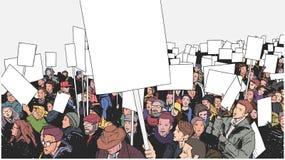 Απεικόνιση του πλήθους που βαδίζει και που καταδεικνύει για την ισότητα Στοκ Φωτογραφία