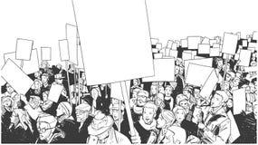 Απεικόνιση του πλήθους που βαδίζει και που καταδεικνύει για την ισότητα Στοκ εικόνα με δικαίωμα ελεύθερης χρήσης