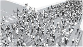 Απεικόνιση του πλήθους που βαδίζει και που καταδεικνύει για την ισότητα Στοκ εικόνες με δικαίωμα ελεύθερης χρήσης