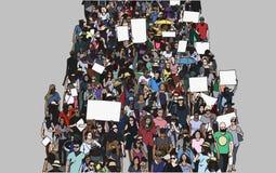 Απεικόνιση του πλήθους που βαδίζει και που καταδεικνύει με τα κενά σημάδια και τα εμβλήματα από την υψηλή άποψη γωνίας Στοκ Εικόνα