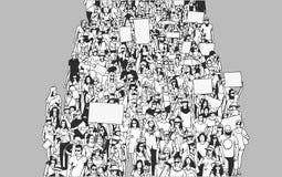 Απεικόνιση του πλήθους που βαδίζει και που καταδεικνύει με τα κενά σημάδια και τα εμβλήματα από την υψηλή άποψη γωνίας Στοκ εικόνα με δικαίωμα ελεύθερης χρήσης