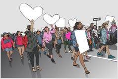 Απεικόνιση του πλήθους που βαδίζει και που καταδεικνύει με τα κενά σημάδια και τα εμβλήματα Στοκ φωτογραφία με δικαίωμα ελεύθερης χρήσης