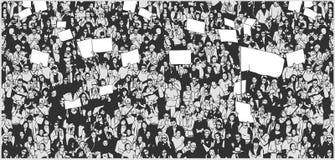 Απεικόνιση του πλήθους που διαμαρτύρεται για τα ανθρώπινα δικαιώματα με τα κενές σημάδια και τη σημαία Στοκ Φωτογραφίες