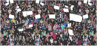 Απεικόνιση του πλήθους που διαμαρτύρεται για τα ανθρώπινα δικαιώματα με τα κενές σημάδια και τη σημαία Στοκ εικόνες με δικαίωμα ελεύθερης χρήσης