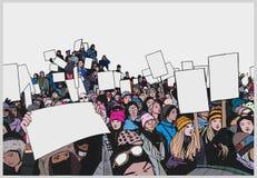 Απεικόνιση του πλήθους που διαμαρτύρεται για τα ανθρώπινα δικαιώματα με τα κενά σημάδια στο χρώμα Στοκ εικόνες με δικαίωμα ελεύθερης χρήσης