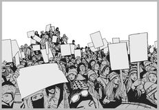 Απεικόνιση του πλήθους που διαμαρτύρεται για τα ανθρώπινα δικαιώματα με τα κενά σημάδια Στοκ Εικόνες