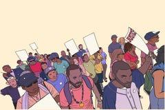 Απεικόνιση του πλήθους που διαμαρτύρεται ενάντια στη βιαιότητα αστυνομίας, με τα κενά σημάδια Στοκ Φωτογραφία