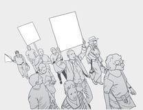 Απεικόνιση του πλήθους που διαμαρτύρεται ενάντια στη βιαιότητα αστυνομίας, με τα κενά σημάδια Στοκ Εικόνες