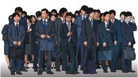 Απεικόνιση του πλήθους των ασιατικών εργαζομένων γραφείων στο χρώμα Στοκ Εικόνα