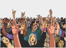 Απεικόνιση του πλήθους φεστιβάλ ενθαρρυντική στη συναυλία Στοκ φωτογραφίες με δικαίωμα ελεύθερης χρήσης