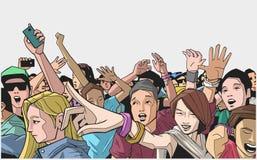 Απεικόνιση του πλήθους φεστιβάλ ενθαρρυντική στη συναυλία Στοκ φωτογραφία με δικαίωμα ελεύθερης χρήσης