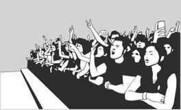 Απεικόνιση του πλήθους φεστιβάλ που πηγαίνει τρελλή στη συναυλία Στοκ Φωτογραφίες