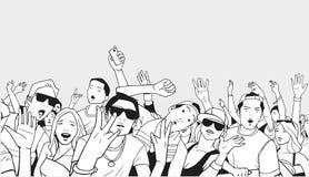 Απεικόνιση του πλήθους φεστιβάλ που πηγαίνει τρελλή στη συναυλία Στοκ εικόνα με δικαίωμα ελεύθερης χρήσης