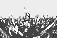 Απεικόνιση του πλήθους φεστιβάλ χορού Στοκ Εικόνα