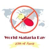 Απεικόνιση του πλανήτη και του κουνουπιού για την ημέρα παγκόσμιας ελονοσίας ελεύθερη απεικόνιση δικαιώματος