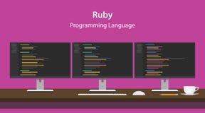 Απεικόνιση του ροδοκόκκινου κώδικα γλώσσας προγραμματισμού που επιδεικνύεται στο όργανο ελέγχου τρία σε μια σειρά στο χώρο εργασί διανυσματική απεικόνιση