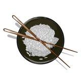 Απεικόνιση του ρυζιού Donburi/του κύπελλου/του φλυτζανιού Στοκ Εικόνες