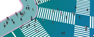 Απεικόνιση του δρόμου με έντονη κίνηση που διασχίζει από την υψηλή άποψη γωνίας Στοκ Εικόνες