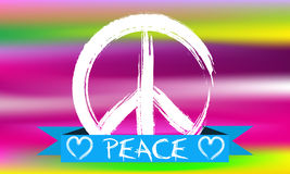 Απεικόνιση του σημαδιού ειρήνης στο ζωηρόχρωμο υπόβαθρο ελεύθερη απεικόνιση δικαιώματος