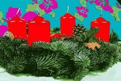 Απεικόνιση του στεφανιού εμφάνισης με τα κόκκινα κεριά Στοκ Φωτογραφία