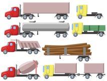 Απεικόνιση του συνόλου διαφορετικών φορτηγών Απεικόνιση αποθεμάτων