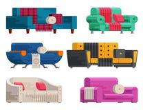 Απεικόνιση του συνόλου καναπέδων Στοκ εικόνες με δικαίωμα ελεύθερης χρήσης