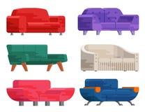 Απεικόνιση του συνόλου καναπέδων Στοκ Εικόνες