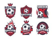 Απεικόνιση του συνόλου λογότυπων ποδοσφαίρου Στοκ Φωτογραφίες