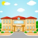 Απεικόνιση του σχολικού κτιρίου για πίσω στο σχολικό έμβλημα Στοκ Εικόνες