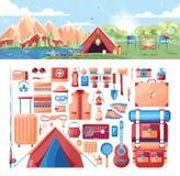 Απεικόνιση του τοπίου ημέρας, βουνά, ανατολή, ταξίδι, πεζοπορία, φύση, σκηνή, πυρά προσκόπων, στρατοπέδευση, αθλητικός εξοπλισμός Στοκ εικόνες με δικαίωμα ελεύθερης χρήσης