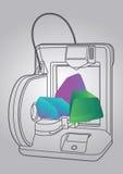Απεικόνιση του τρισδιάστατου εκτυπωτή Στοκ εικόνα με δικαίωμα ελεύθερης χρήσης