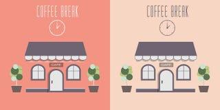 Απεικόνιση του χαριτωμένου άνετου καφέ Στοκ εικόνα με δικαίωμα ελεύθερης χρήσης