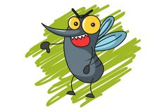 Απεικόνιση του χαριτωμένου κουνουπιού κινούμενων σχεδίων διανυσματική απεικόνιση