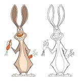Απεικόνιση του χαριτωμένου χαρακτήρα κινουμένων σχεδίων κουνελιών Στοκ Εικόνα