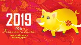 Απεικόνιση του χοίρου kawaii, σύμβολο του 2019 στο κινεζικό calend Στοκ Φωτογραφία