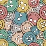 Απεικόνιση του χρωματισμένου άνευ ραφής προτύπου κουμπιών Στοκ Εικόνες