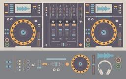 Απεικόνιση του DJ που αναμιγνύει τις γέφυρες και τα στοιχεία Στοκ Εικόνα