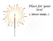 Απεικόνιση του sparkler, των βεγγαλικών ζωηρόχρωμων ή ινδικών πυροτεχνημάτων χρώματος, πυρκαγιά, πυροτεχνουργία Νέο έτος, Χριστού διανυσματική απεικόνιση
