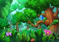 Απεικόνιση: Το δάσος παλαιός-αύξησης με τα πράσινα δέντρα, τις χλόες και τα λουλούδια, και το πουλί Στοκ Εικόνες