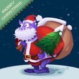 Απεικόνιση: Το μεγάλο άτομο στοματικού χιονιού έρχεται να σας ευχηθεί τη Χαρούμενα Χριστούγεννα! Στοκ εικόνα με δικαίωμα ελεύθερης χρήσης