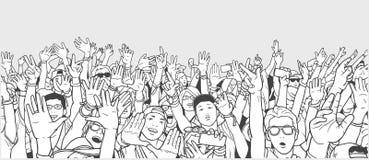 Απεικόνιση το πλήθος με τα αυξημένα χέρια Στοκ Φωτογραφία