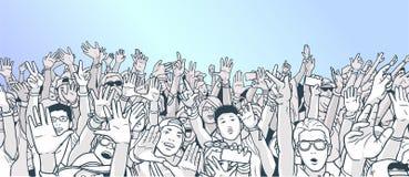 Απεικόνιση το πλήθος με τα αυξημένα χέρια Στοκ Εικόνες