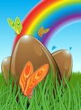 Τρία αυγά Πάσχας σοκολάτας απεικόνιση αποθεμάτων