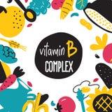 Απεικόνιση τροφίμων κινούμενων σχεδίων βιταμινών Β Συστατικά τροφίμων με το διάστημα κειμένων στοκ εικόνες με δικαίωμα ελεύθερης χρήσης