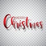 Απεικόνιση τυπογραφίας Χαρούμενα Χριστούγεννας σε ένα διαφανές υπόβαθρο Διανυσματικό λογότυπο, εμβλήματα, σχέδιο κειμένων για το  Στοκ φωτογραφία με δικαίωμα ελεύθερης χρήσης